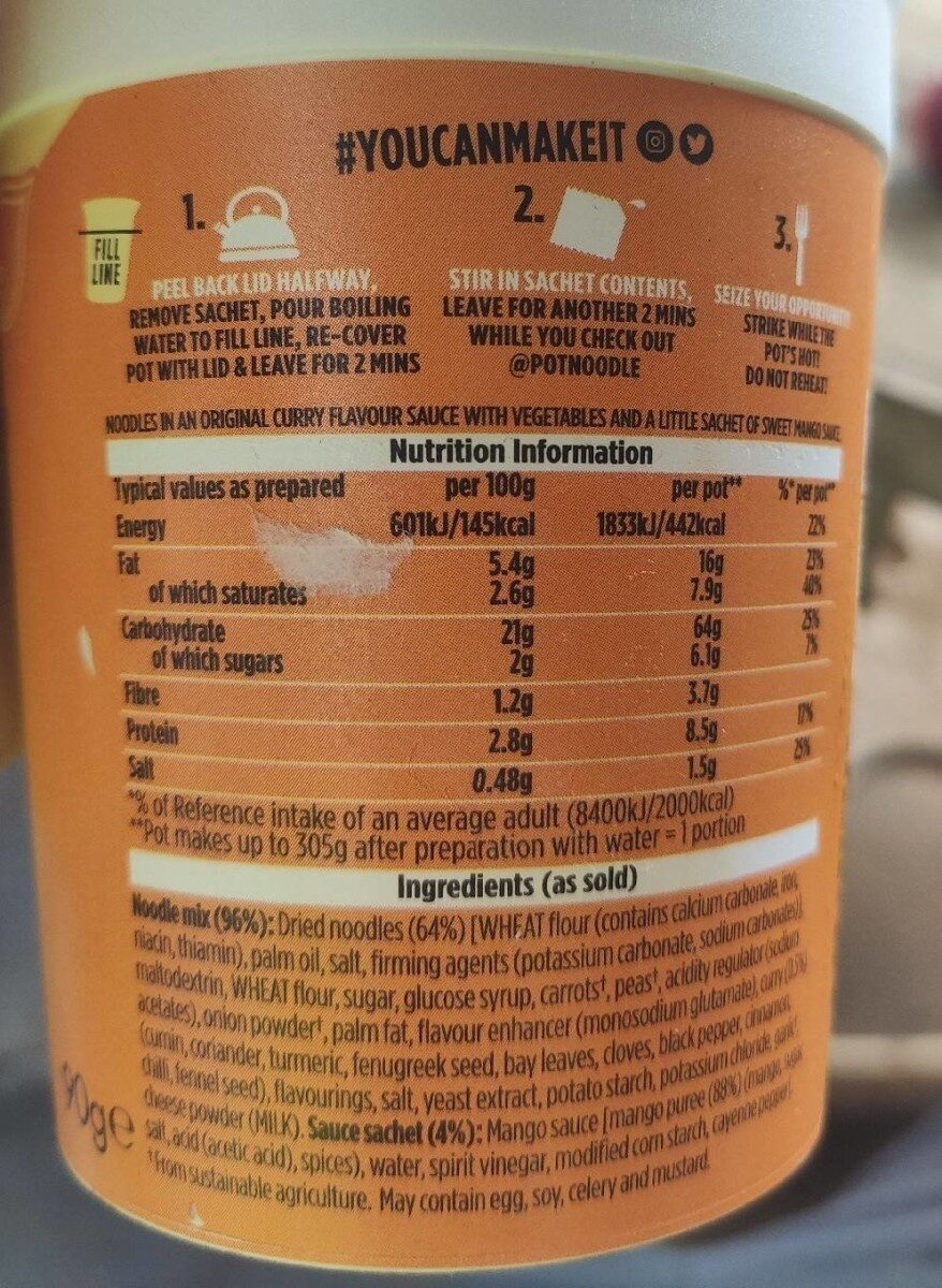 Original Curry Standard - Valori nutrizionali - en