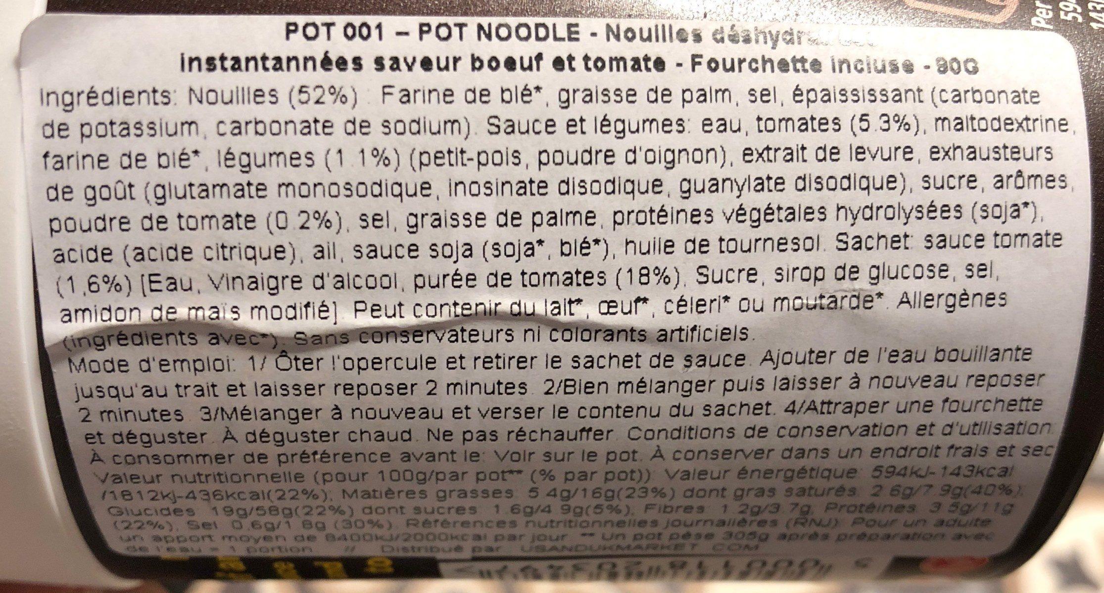 Pot Noodle Beef And Tomato - Ingrédients
