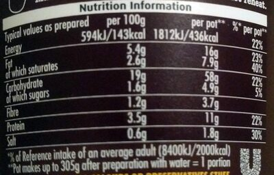 Pot Noodle Beef And Tomato - Informations nutritionnelles