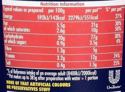 Pot Noodle King Bombay Bad Boy - Nutrition facts