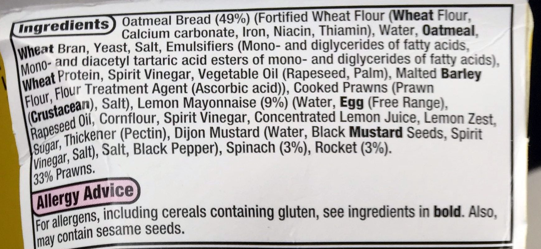low fat prawn & rocket - Ingredients - en