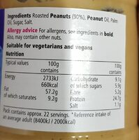 Tesco Smooth Peanut Butter 340G - Voedingswaarden