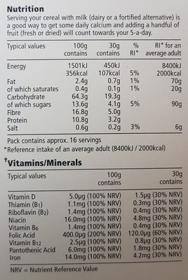 Tesco Bran Flakes 500G - Nutrition facts