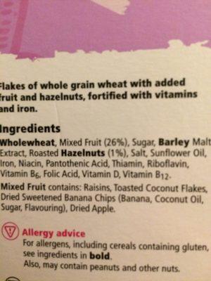TESCO Fruit & Fibre Breakfast Cereal 500g - Συστατικά - en