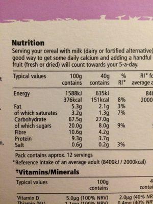 TESCO Fruit & Fibre Breakfast Cereal 500g - Διατροφικά στοιχεία - en