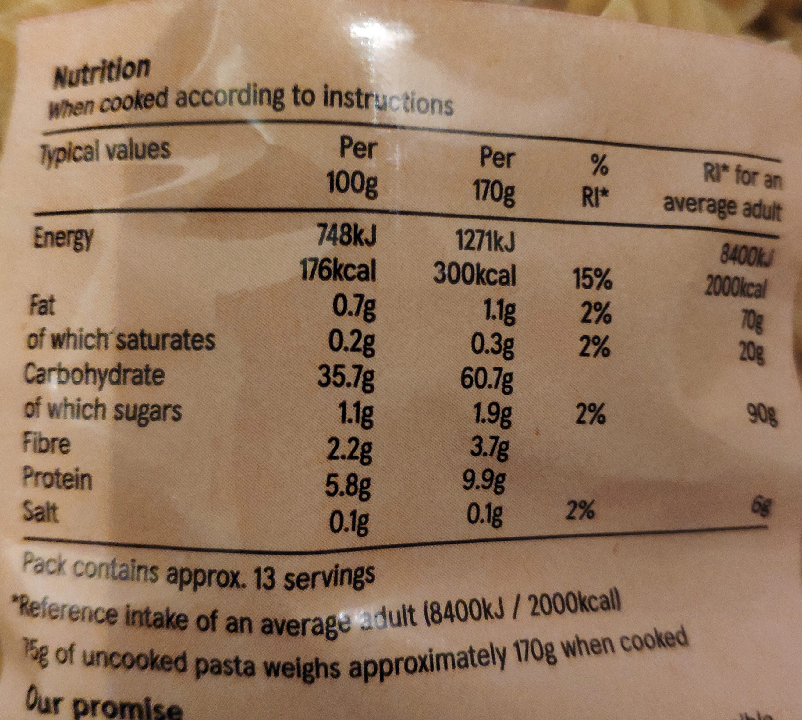Fusilli - Nutrition facts - en