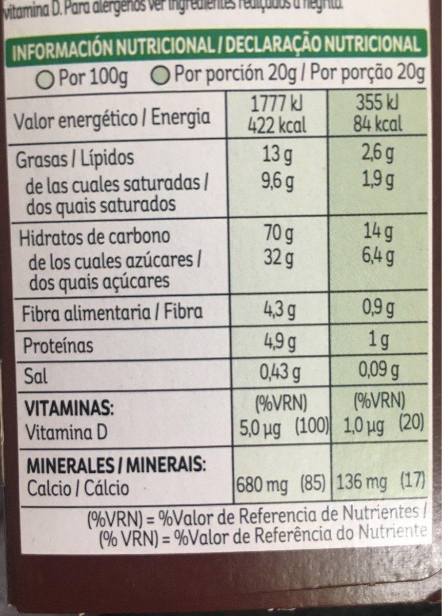 Barrita De Arroz Tostado Con Cacao Y Leche. - Informació nutricional - en