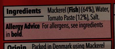Mackerel fillets in tomato sauce - Ingredients