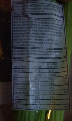 Organic Celery - Nutrition facts