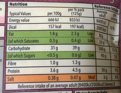 Co op Pilau Rice - Voedingswaarden - fr