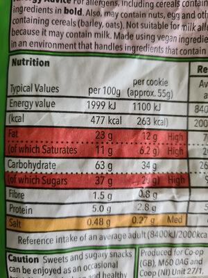 GRO Dark Choc Chunk Cookies - Nutrition facts - en