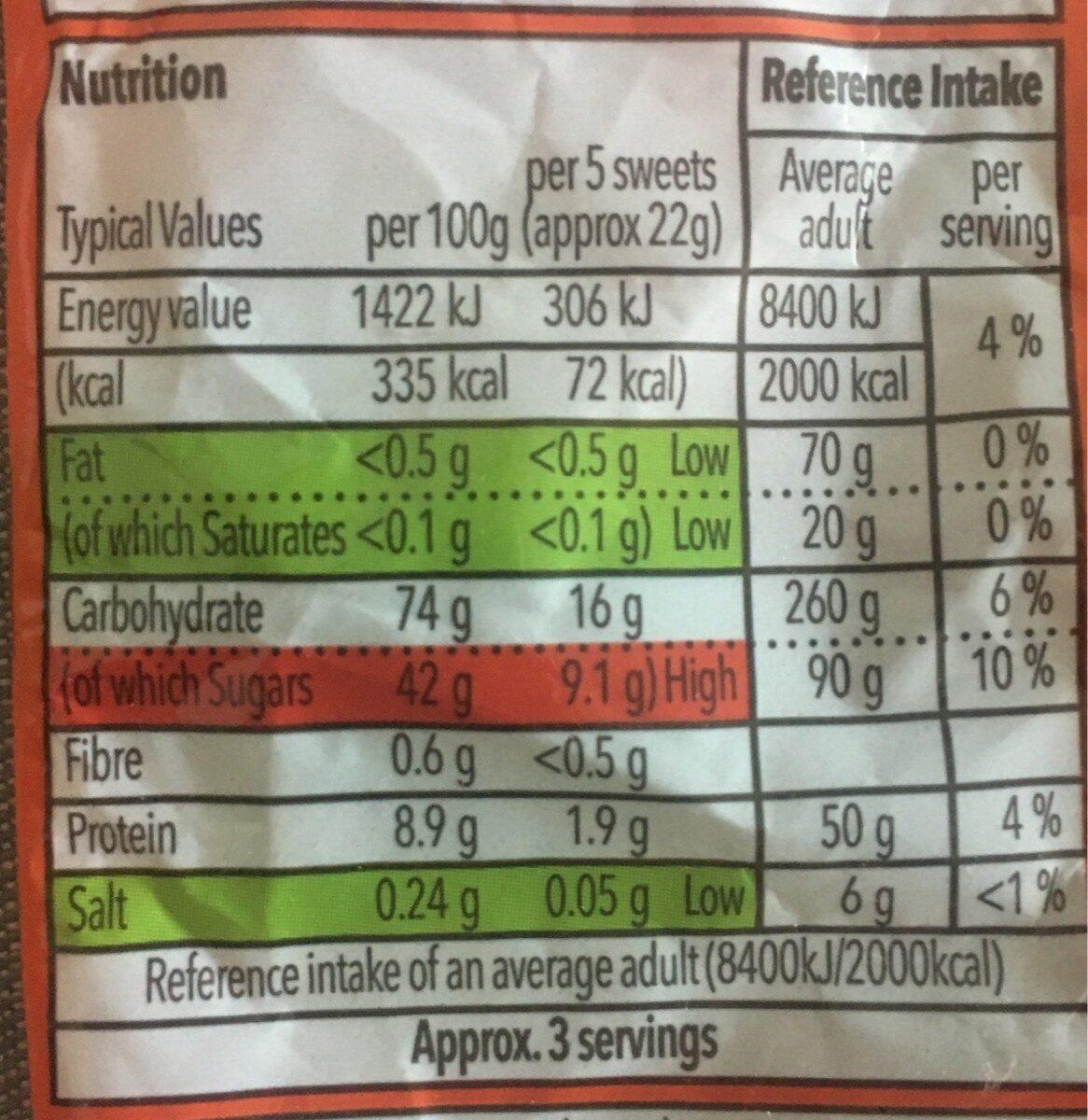Cola Bottles - Nutrition facts - en