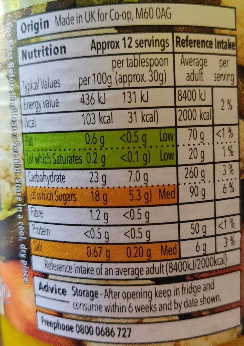 Sweat Piccalilli - Informations nutritionnelles