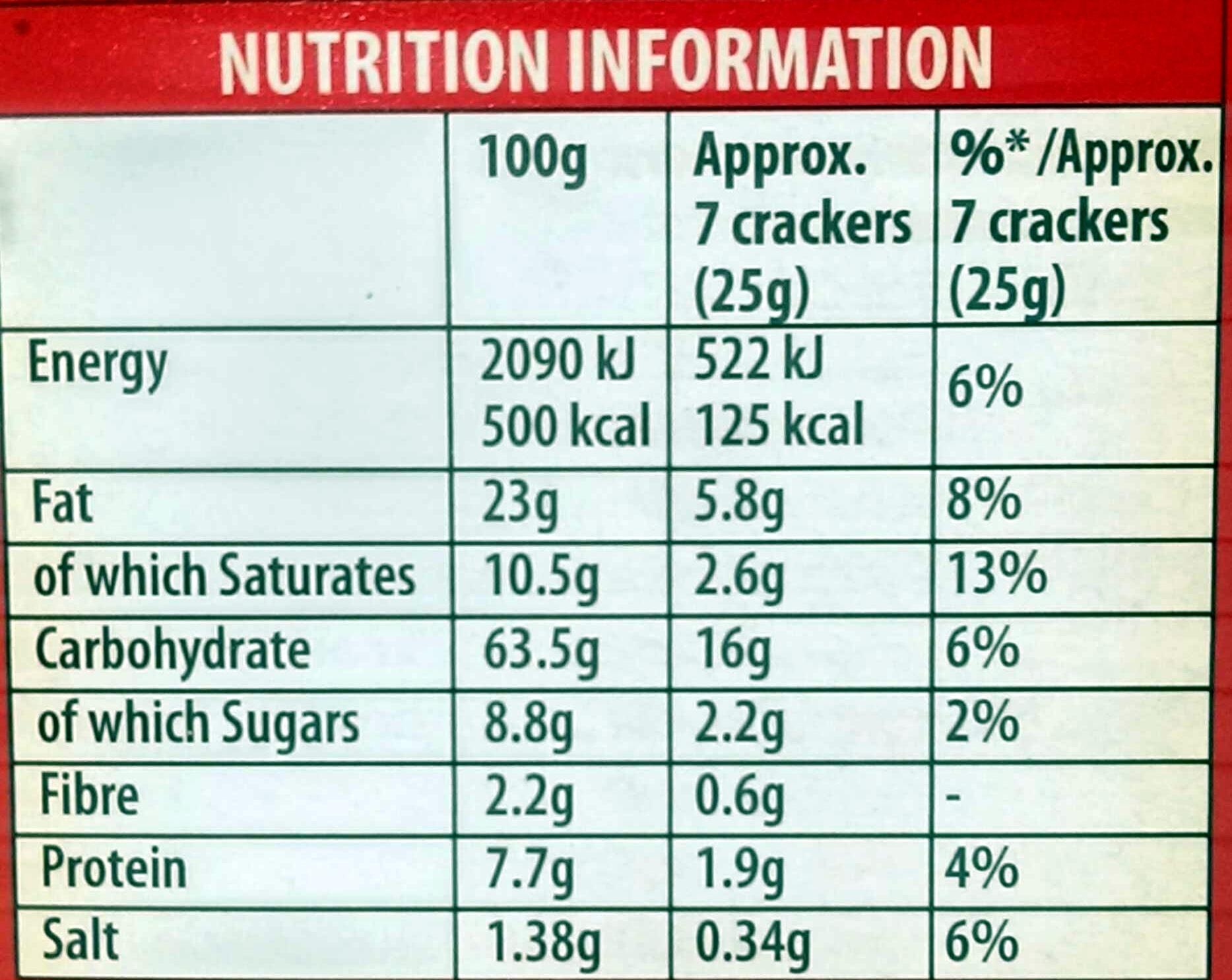 Original Crackers - Nutrition facts - en