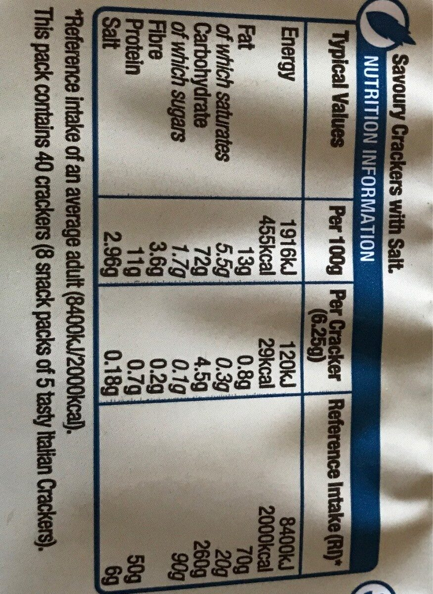 Jacob's mediterraneo bread crackers salted - Nutrition facts - en