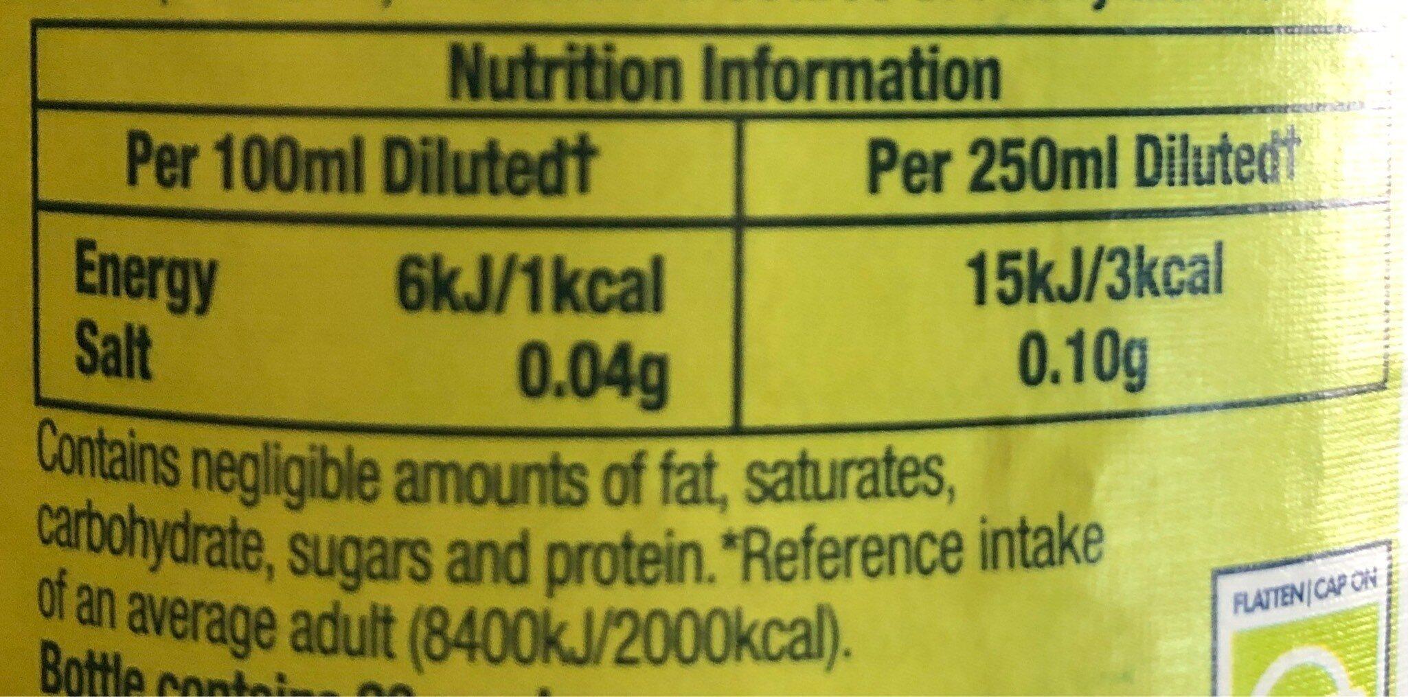 Orange Squash No Added Sugar - Nutrition facts - en