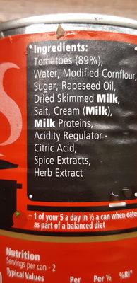 HEINZ cream of tomate soup - Ingredienti - en
