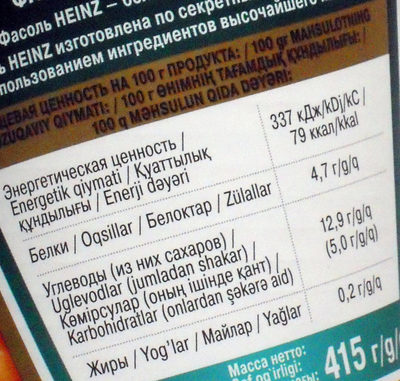 Baked beans in tomato sauce - Nutrition facts