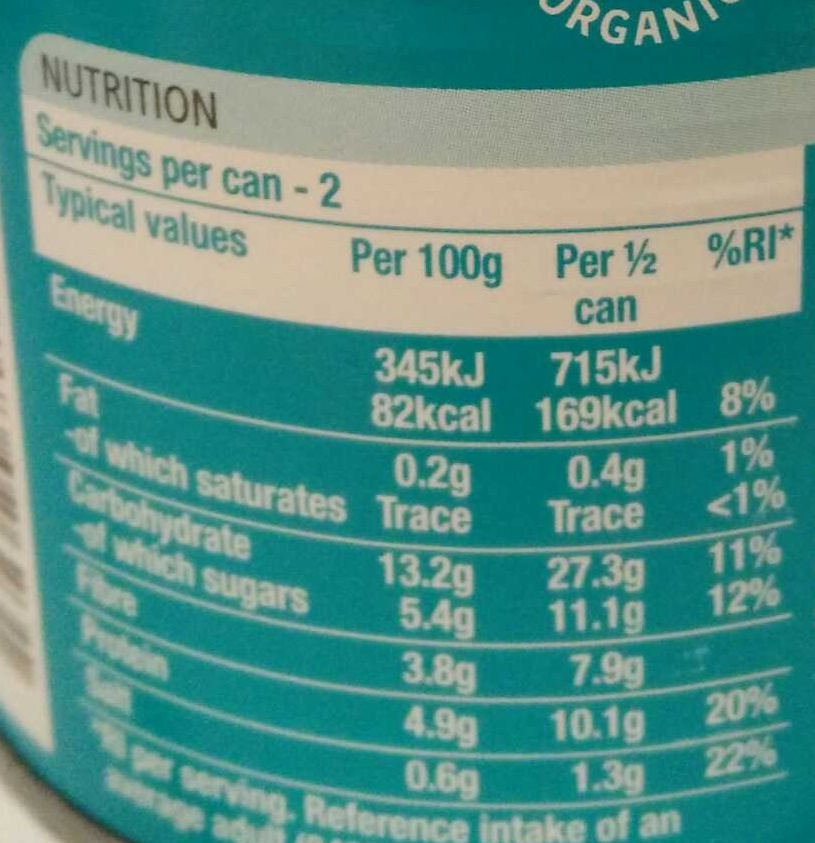 Beanz organic - Nutrition facts