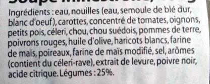 Minestrone soup 400 g - Ingrédients - fr