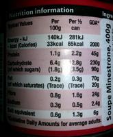 Minestrone soup 400 g - Informations nutritionnelles - en