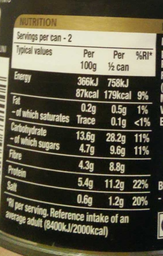five beanz - Nutrition facts