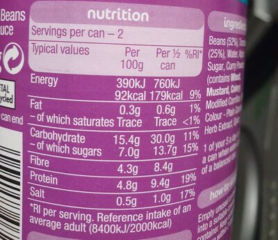 Heinz Baked Beans Curry - Nutrition facts