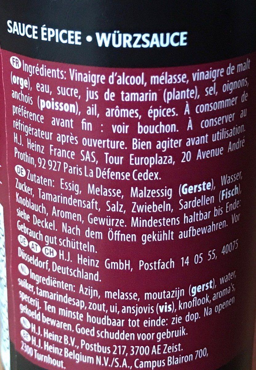 Heinz Worcestershire Sauce 150 ml - Ingrédients - fr