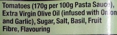 Gluten Free Tomato & Basil pasta Sauce - Ingrédients