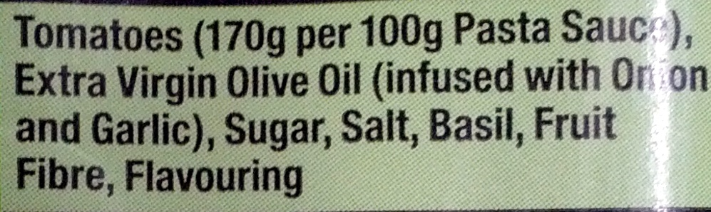 Gluten Free Tomato & Basil pasta Sauce - Ingrédients - en