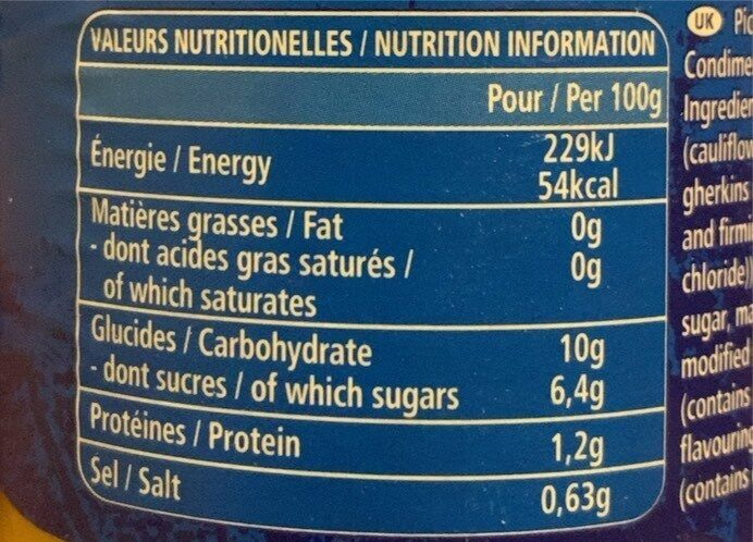 Piccalilli Extra - Informations nutritionnelles - fr