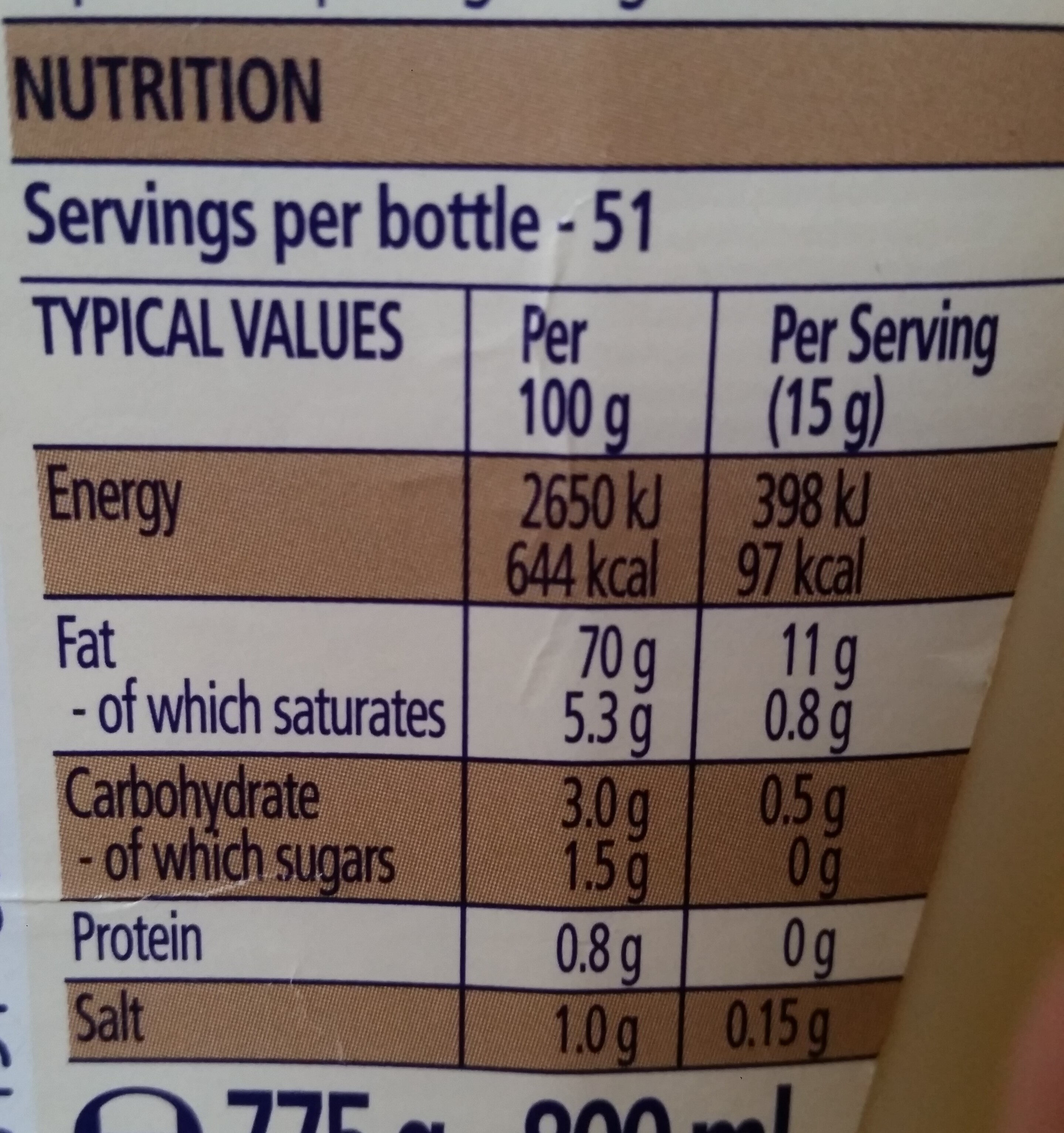 [Seriously] Good Mayonnaise - Nutrition facts - en