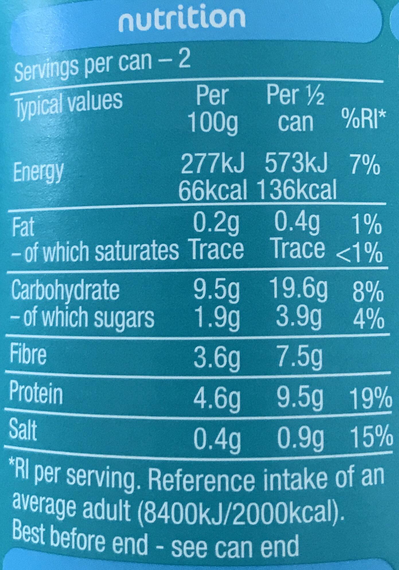 No added sugar BEANZ - Informations nutritionnelles