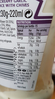 Garlic sauce - Nutrition facts - en