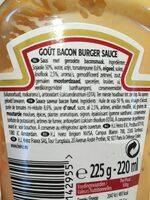 Heinz bacon burger sauce - Ingredients - fr