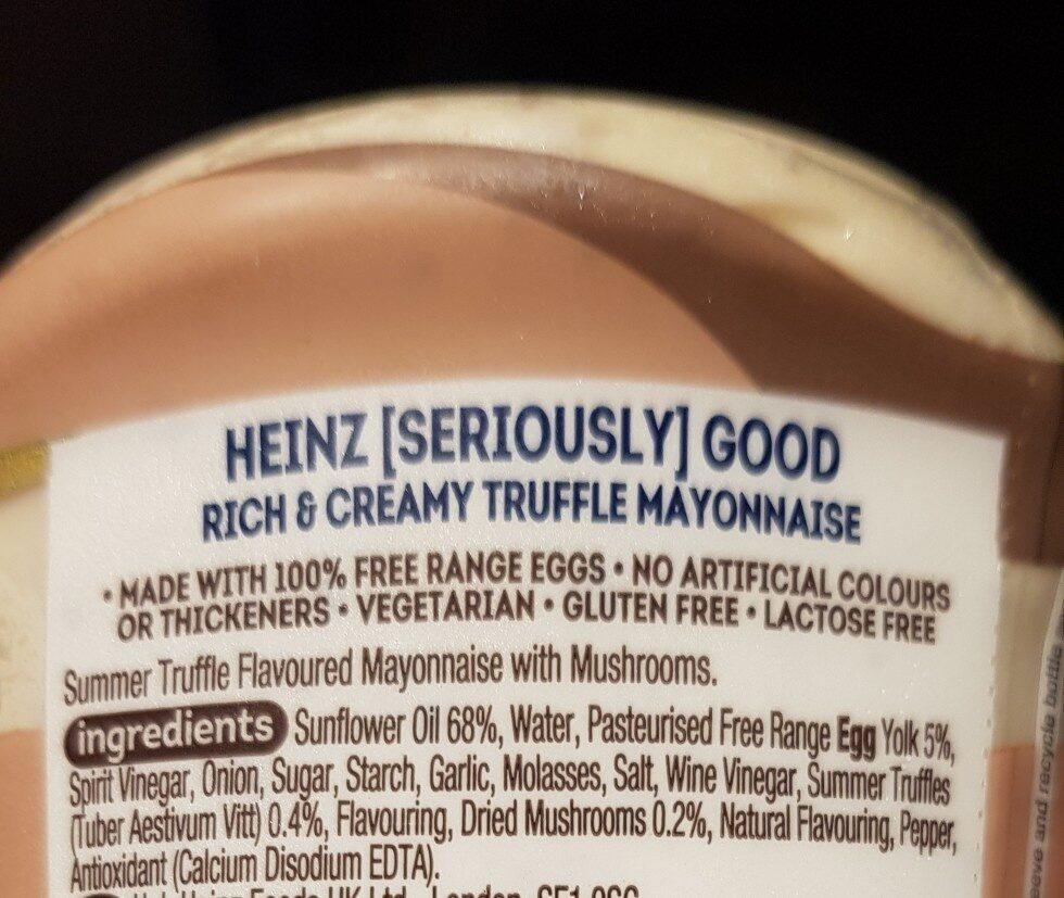 Heinz Rich&Creamy Truffle Mayonnaise - Ingredienti - en