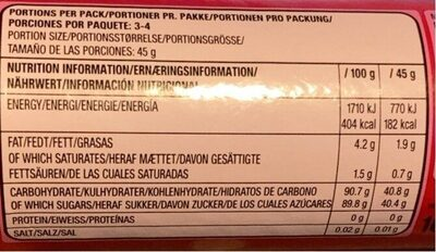 Skittles Fruits 165g (taste The Rainbow) - Informazioni nutrizionali - fr