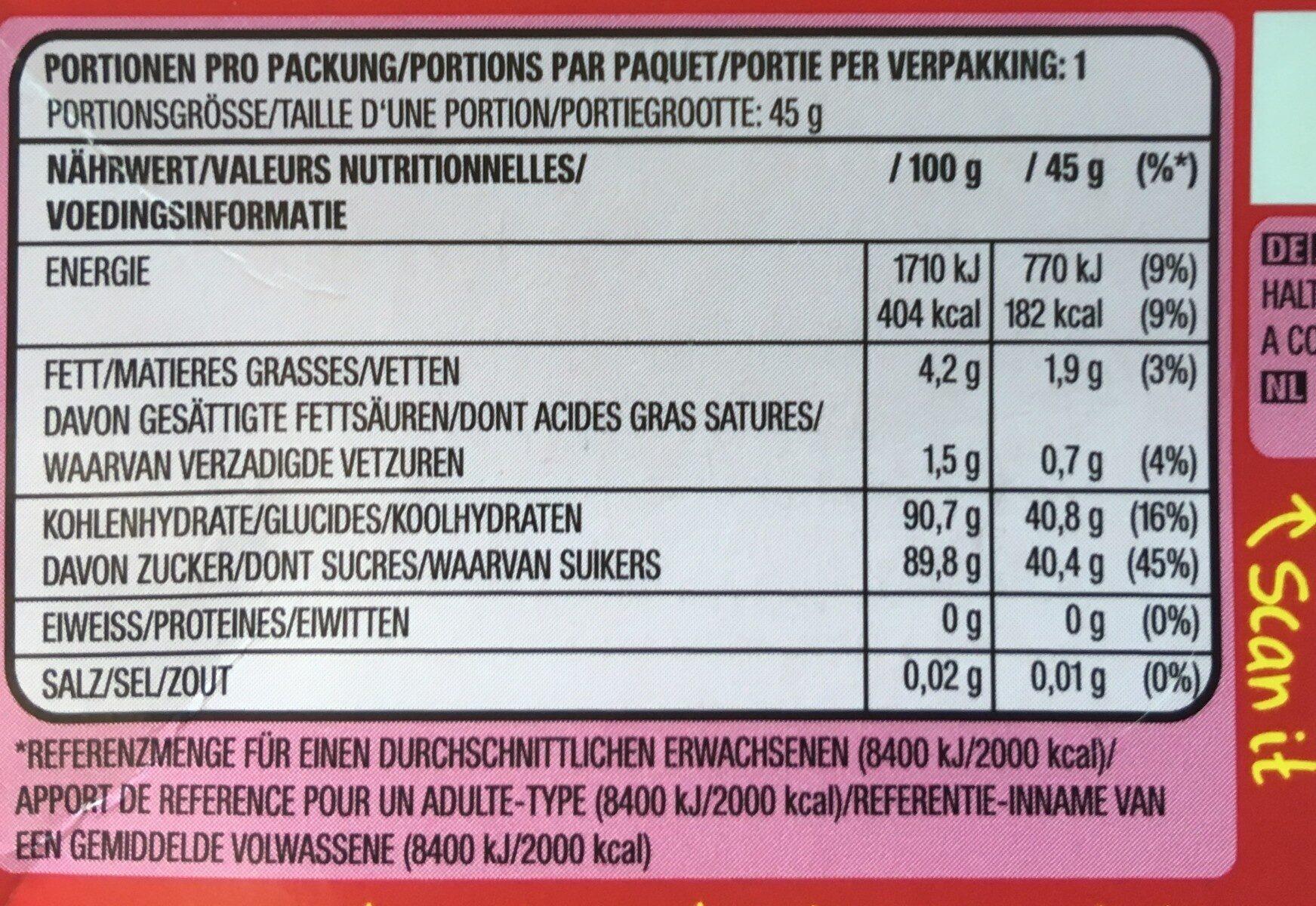 Skittles fruits - Voedingswaarden - fr