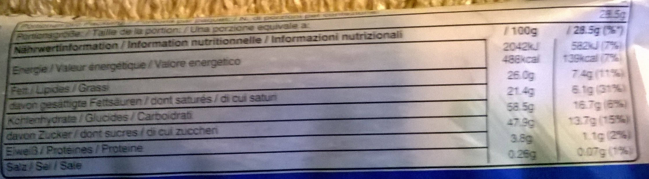 Bounty - Informations nutritionnelles - fr