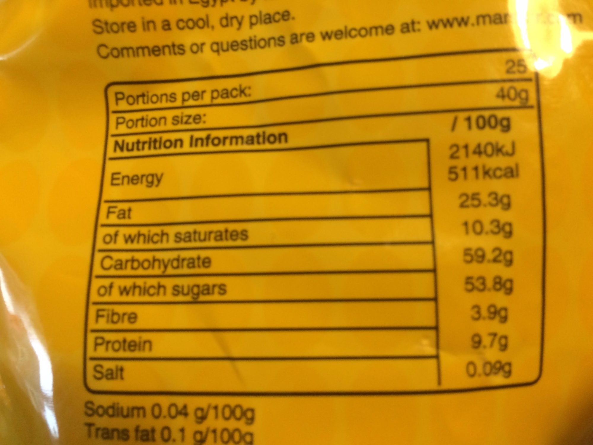 M&M's Party 1kg - Informations nutritionnelles