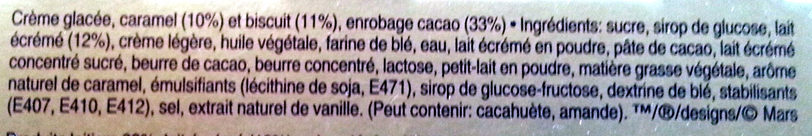 Twix barres glacées - Ingredientes - fr