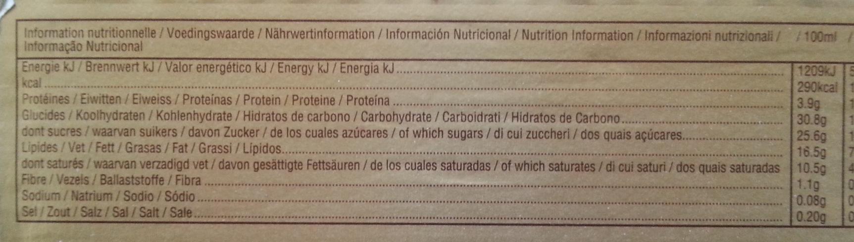 TWIX ice cream - Información nutricional - fr