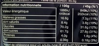Mars x6 - Valori nutrizionali - fr