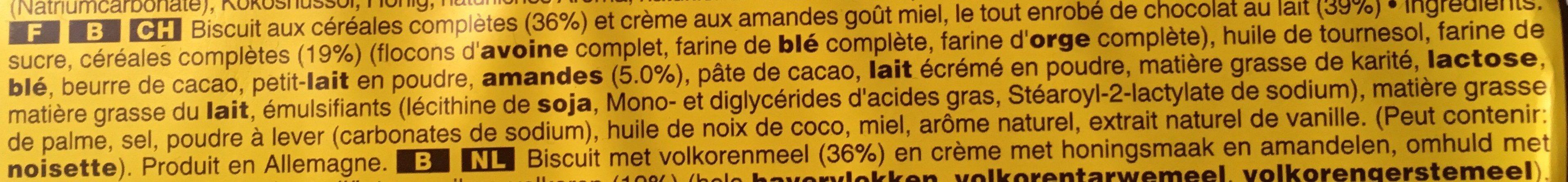 Biscuit aux céréales complètes goût miel amandes - Zutaten - fr