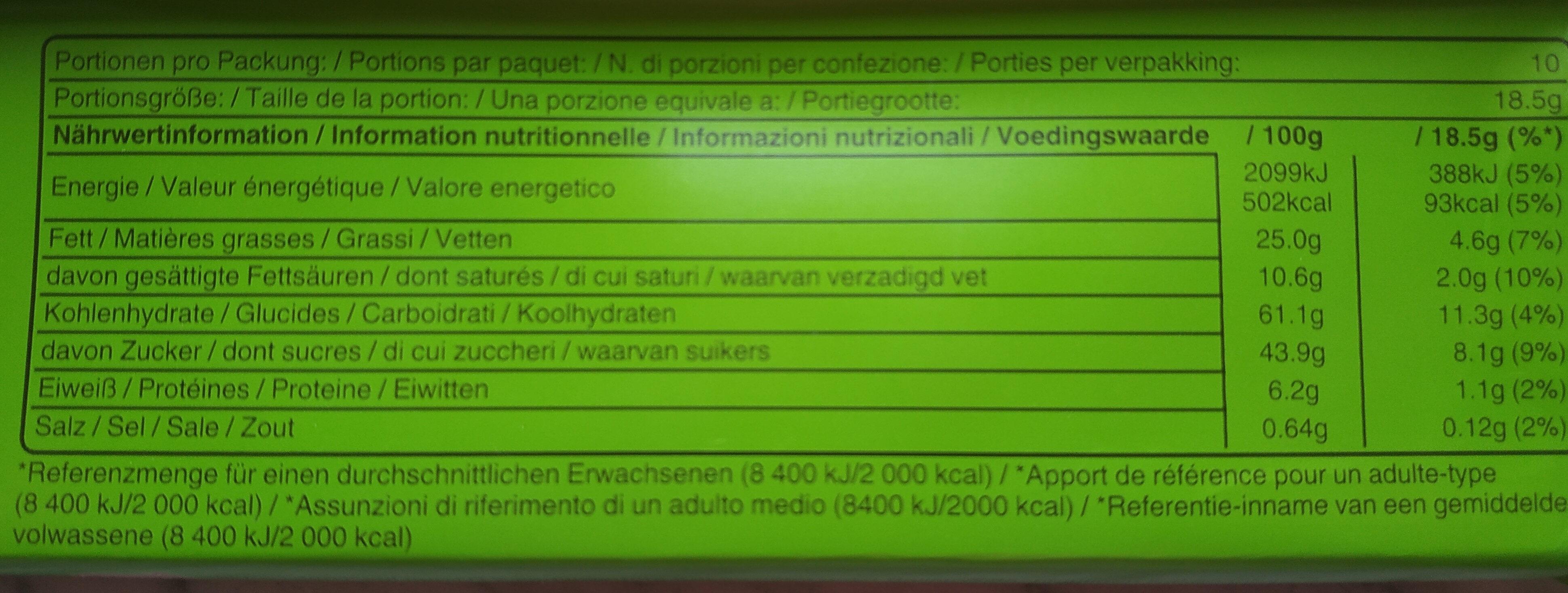 Balisto muesli raisins noisettes - Nutrition facts