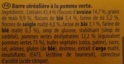 Yoberry - Barre céréalière à la pomme verte - Ingredients - fr