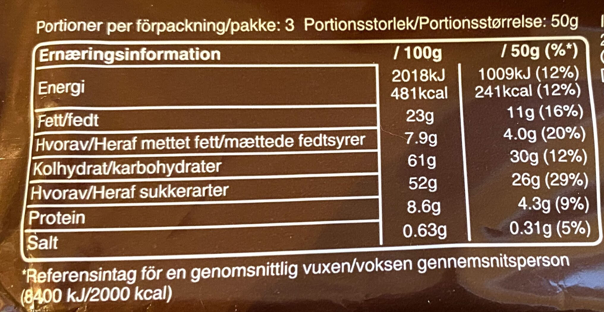 Snickers x1 - Nutrition facts - en