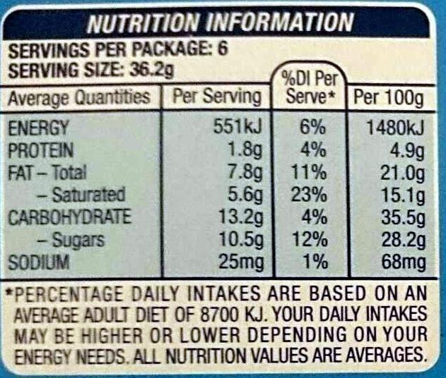 Bounty Smooth & Creamy Frozen Bars - Nutrition facts - en