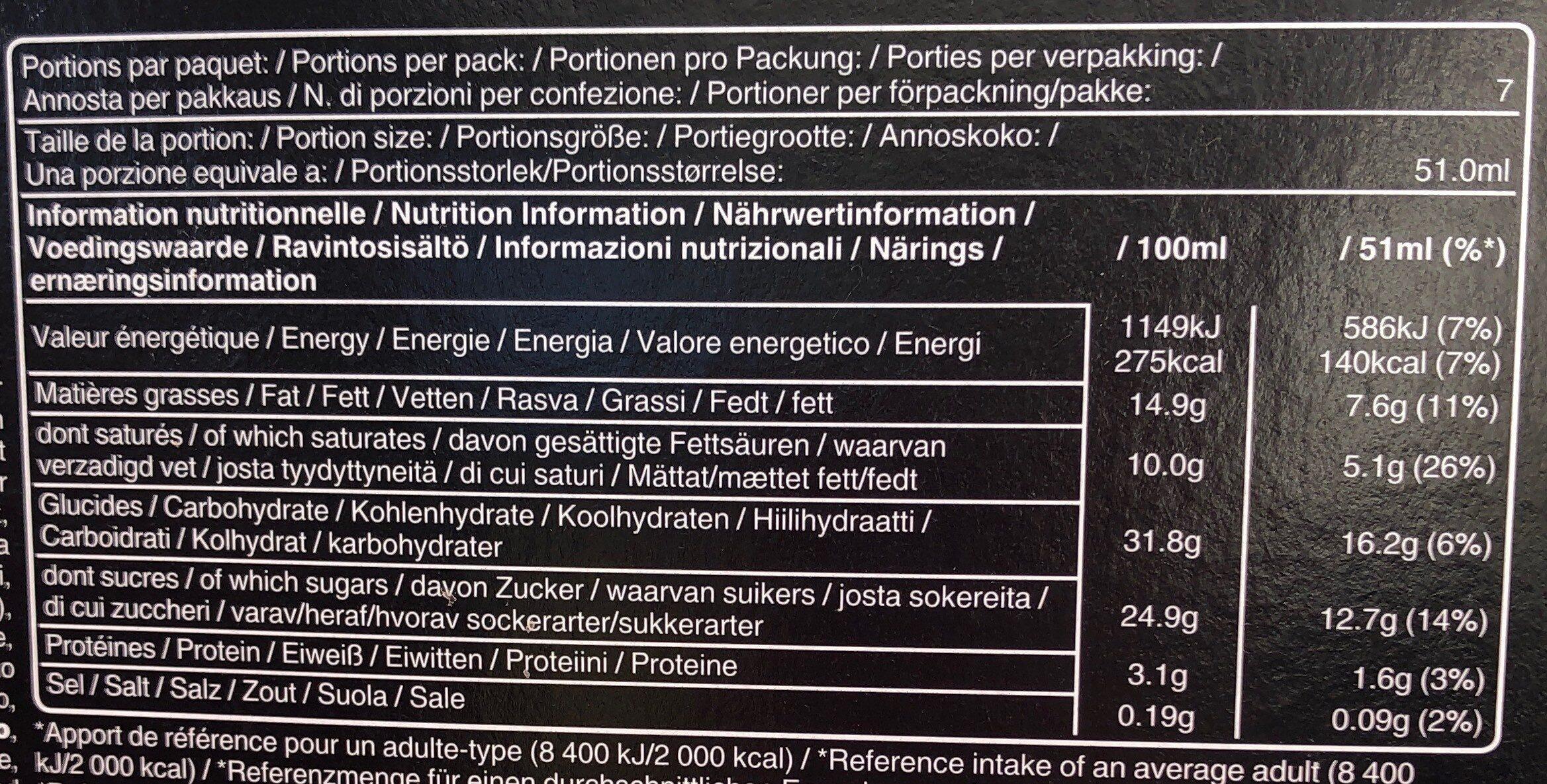 Mars glacé - Informations nutritionnelles - fr