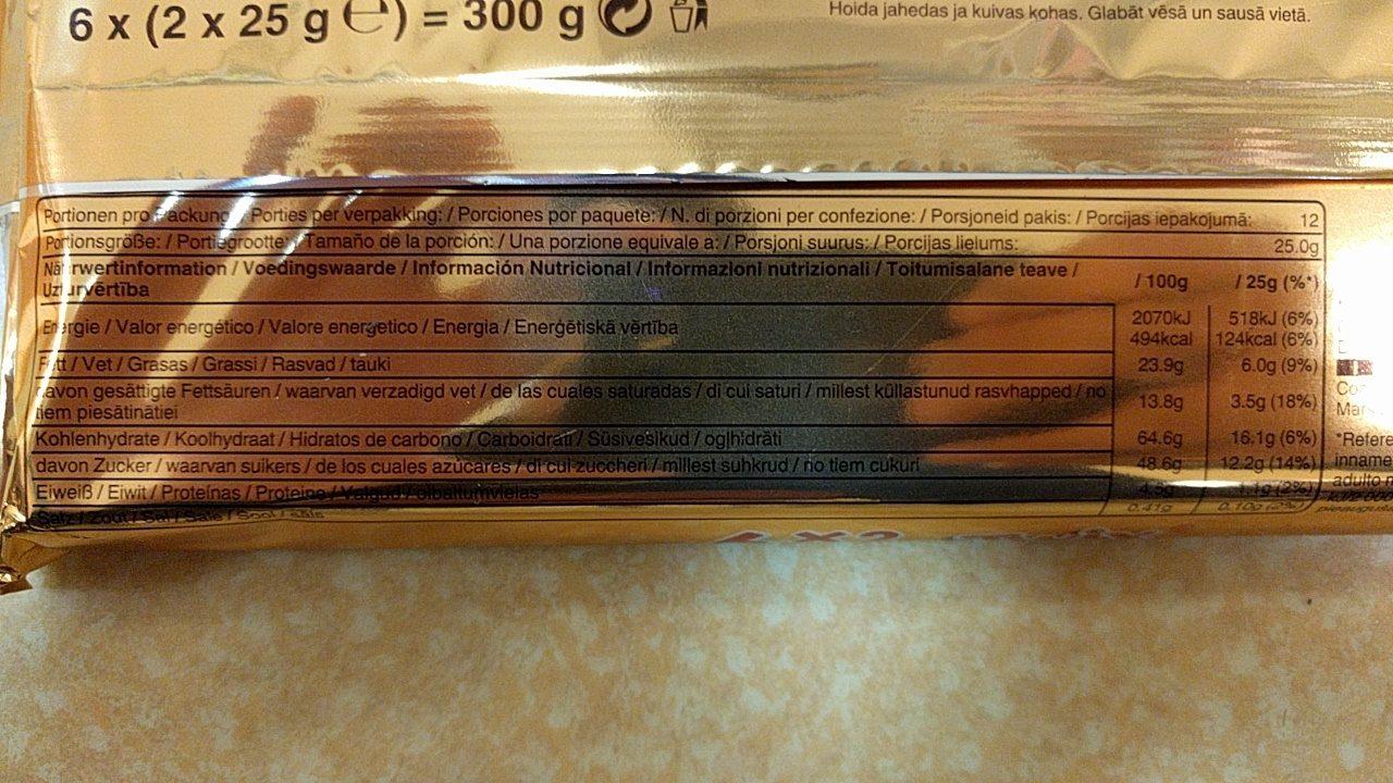 Twix 6*2 - Informations nutritionnelles